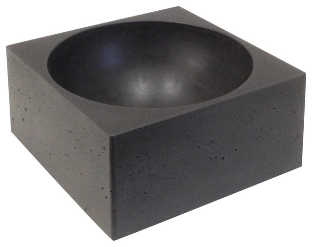 Pantheon Small Concrete Bathroom Sink, Anthracite, Smooth, 30 cm