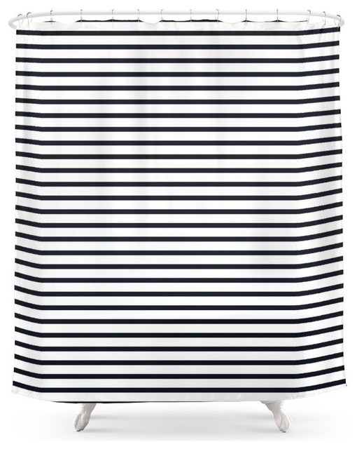 Society6 Society6 Sailor Stripes Black And White Shower Curtain Shower Curt