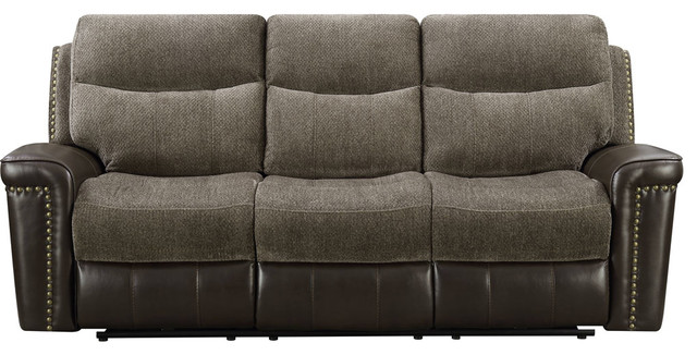 Modena Double Reclining Sofa With Dropdown Table.