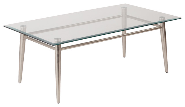 Furniture Legs Brushed Nickel brooklyn clear tempered glass top coffee table with nickel brushed