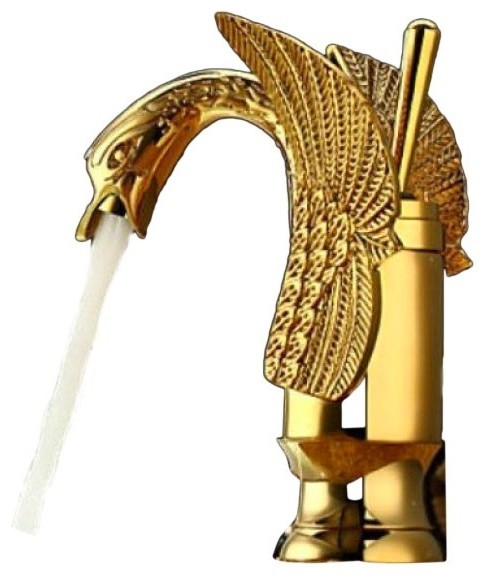 Hopper Gold Finish Brass Bathroom Sink Faucet - Traditional ...