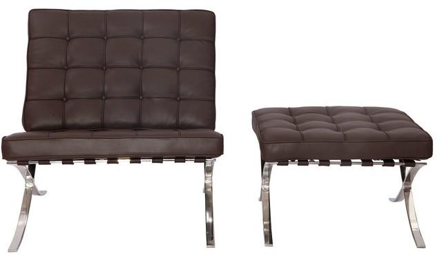 Pavilion Barcelona Aniline Leather Chair And Ottoman, 2-Piece Set, Dark Brown