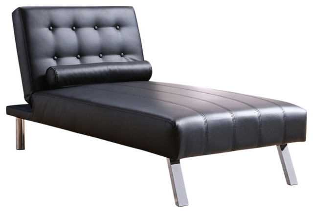 Button Tufted Back Convertible Chaise Lounger With Lumber Support Pillow, Black