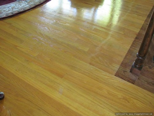 ... on it to give temporary protection. I know it is hard to guess from  pictures , but if you think you know what finish please guess. - Filling Staple Holes On Hardwood After Removing Carpet