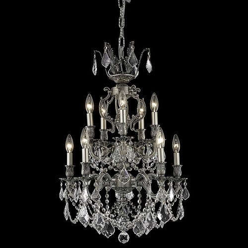 elegant lighting 9510d21pw marseille 10 light two tier crystal chandelier fini traditional. Black Bedroom Furniture Sets. Home Design Ideas