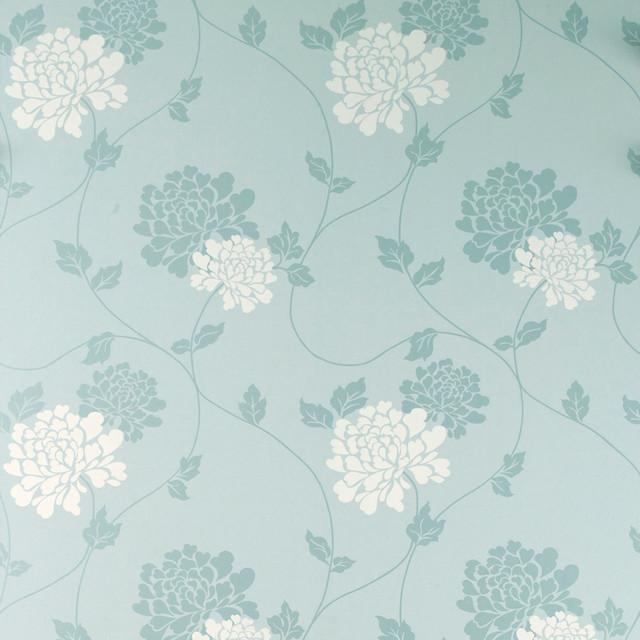 Laura Ashley Isodore Blue Wallpaper Eclectic Wallpaper