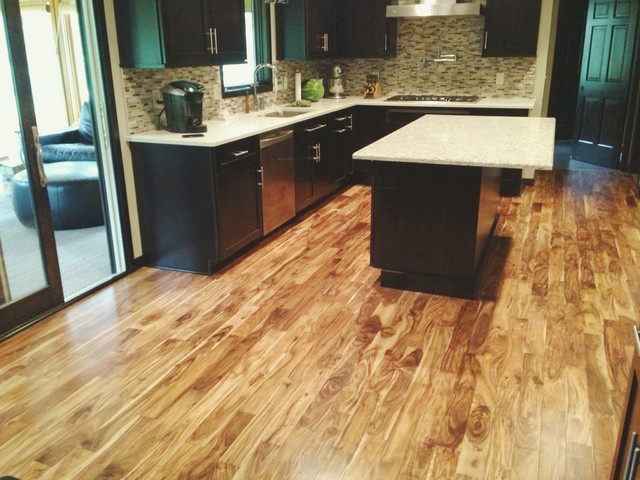 Solid Acacia Blonde Prefinished Contemporary Kitchen