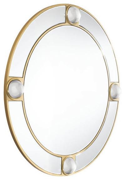 Round Lucite Mirror And Lucite.