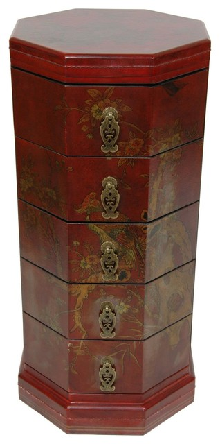Oriental Furniture Red Lacquer Five Drawer Octagonal