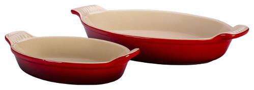 Le Creuset Heritage Cherry Red Stoneware Au Gratin Dish, Set Of 2.