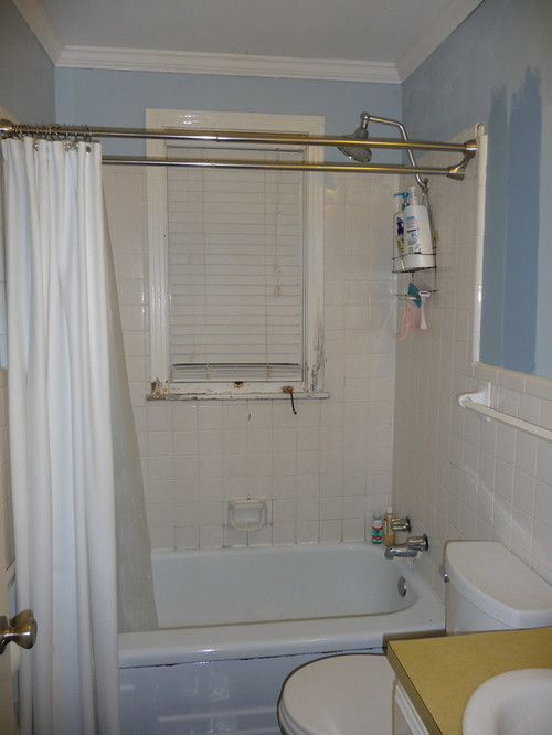 I've attached the frightening before photo - you can see we had to have blinds in the shower! I'll post the after photo in the next post. - Window Over Bathtub And In Shower