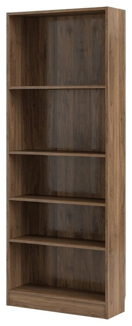 Element Tall Wide 5 Shelf Bookcase, Walnut