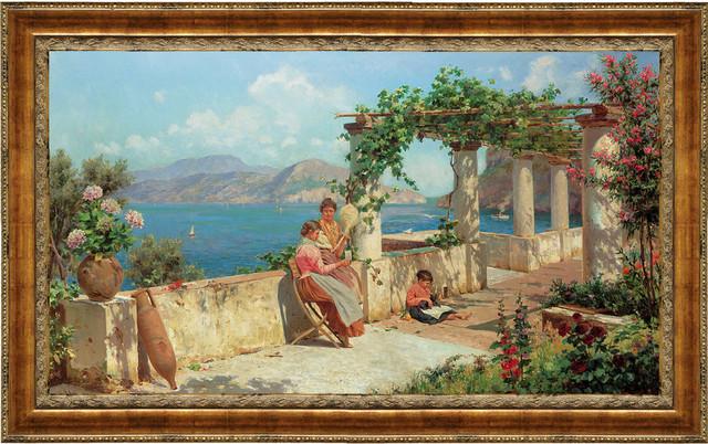 """Figures on a Terrace in Capri"" Stretched Canvas Replica, 25.5""x18.5"""