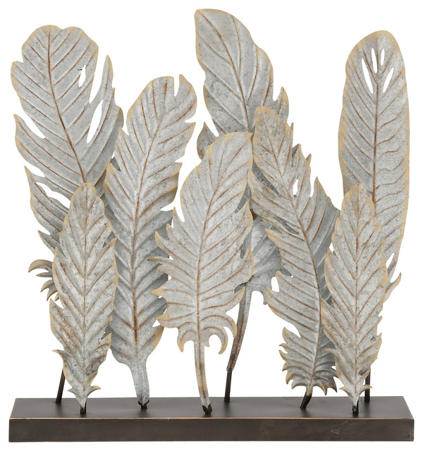Simple metal feather decor contemporary decorative for Modern decorative objects