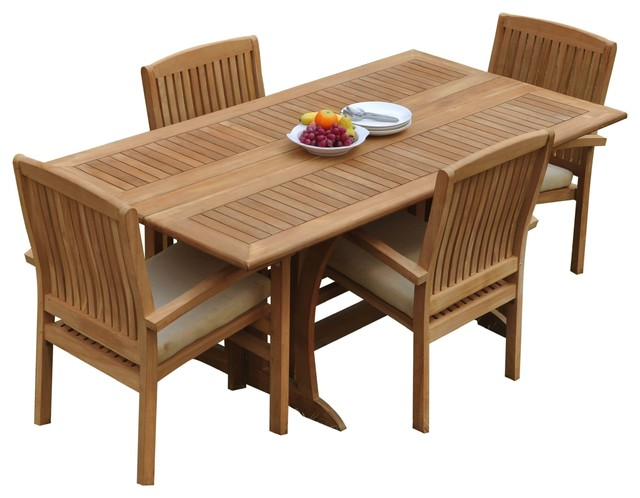 5 Piece Outdoor Teak Dining Set 69 Folding Table 4 Wave Stacking Arm Chairs