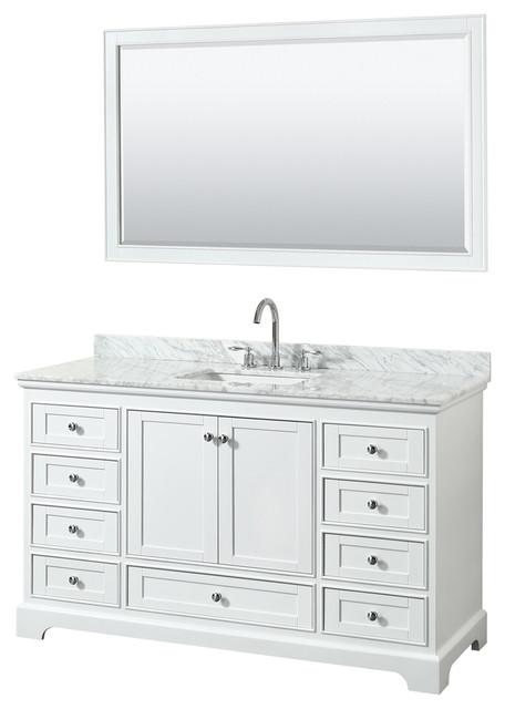 Deborah 60 Vanity, 58 Mirror, White, White Carrera Marble, Undermount.