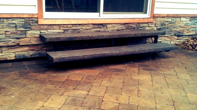 Floating Concrete Patio Steps & Modern Exterior Upgrade