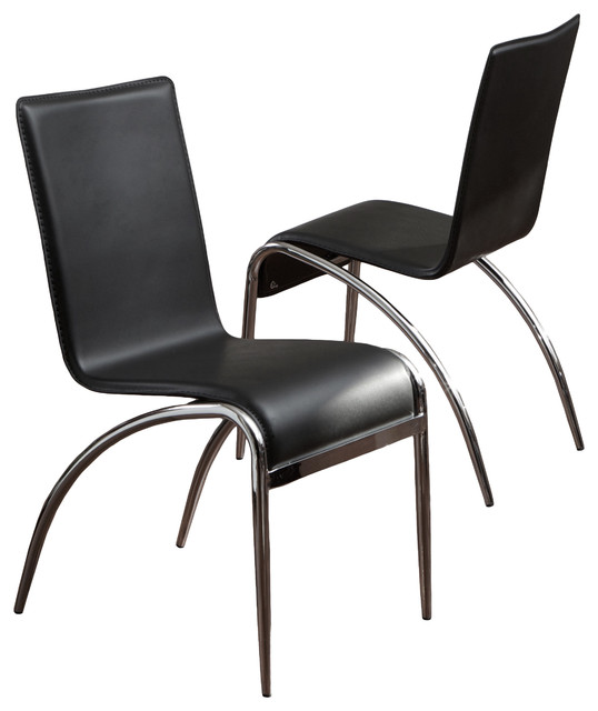 aude dining chairs set of 2 black and chrome