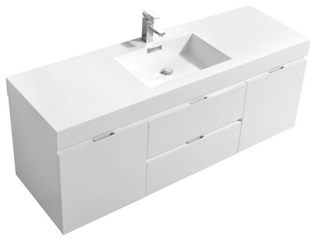 Bliss 60 Wall Mount Single Sink Modern Bathroom Vanity Modern Bathroom Vanities And Sink Consoles By Us Bathroom Store Houzz