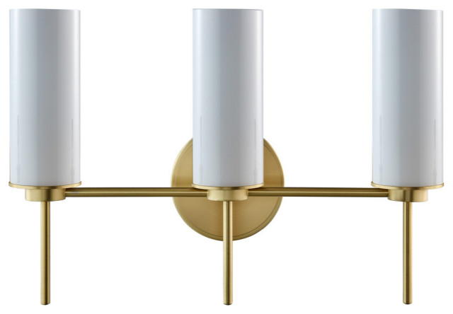Napa 3 Light Bathroom Sconce, Brushed Brass With Glossy Frosted Glass