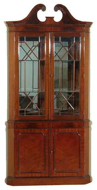 three d circus - Large Mahogany 2-Door Corner Curio ...