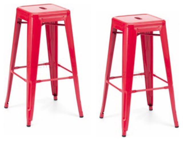 """KENDALL-SET OF 2 NEW 29/"""" BAR//COUNTER STOOL RED WOOD//LEATHER BARSTOOL"""