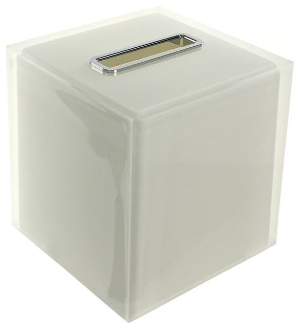 Thermoplastic Resin Square Tissue Box Cover, White