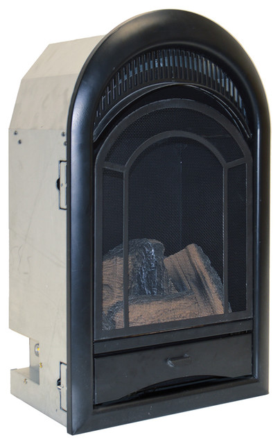 Ventless Fireplace Insert Thermostat Control Arched Door,15,000 Btu.