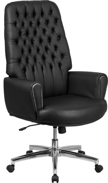Brilliant Beautiful High Back Traditional Tufted Leather Executive Office Chair Black Download Free Architecture Designs Osuribritishbridgeorg