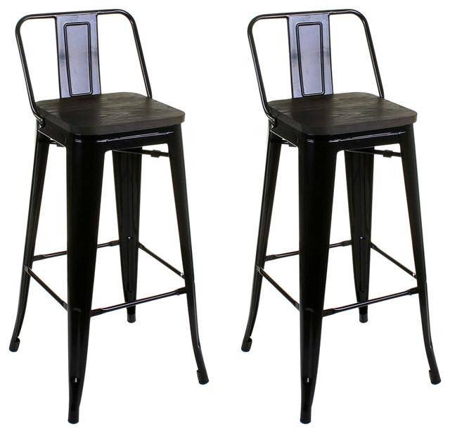 Awesome Industrial Stylish Bar Stools Metal Frame Black Set Of 2 Machost Co Dining Chair Design Ideas Machostcouk