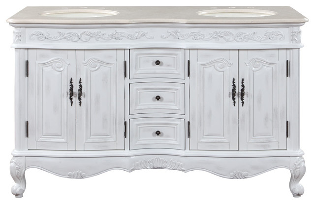58 Traditional Double Sink Bathroom Vanity Crema Marfil Top Distressed Finish