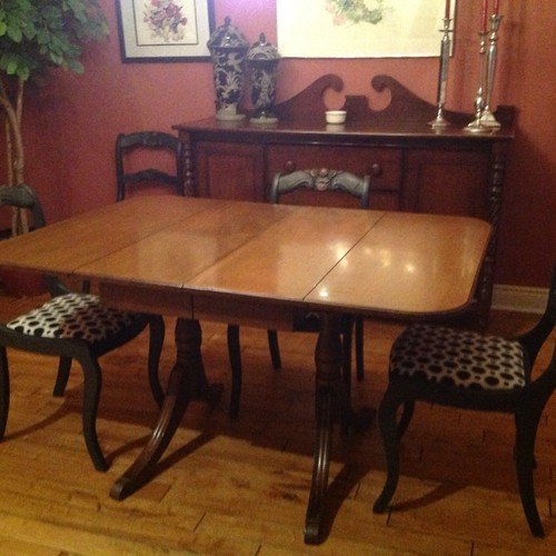 Dining room furniture redo with annie sloan chalk paint for How to redo dining room chairs