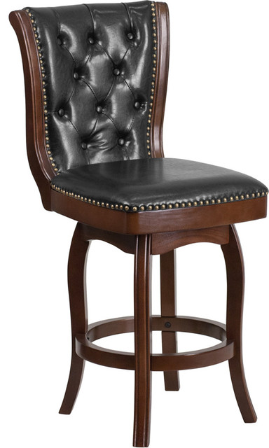 Sensational 26 High Wood Counter Height Stool With Leather Swivel Seat Black Cappuccino Gamerscity Chair Design For Home Gamerscityorg