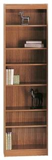 24 in. Slim Bookcase w 7 Shelves in Medium Oak Finish