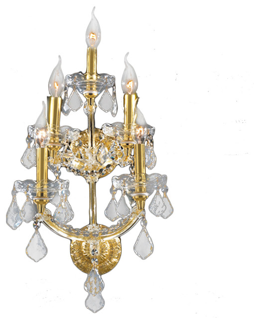 Maria Theresa 5 Light 3 Tier Crystal Candle Wall Sconce Medium Gold