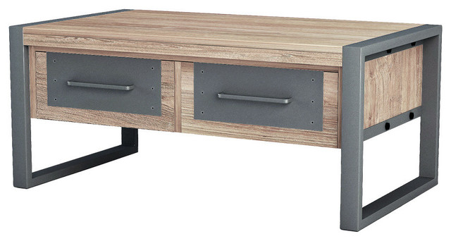 Asta Teak and Iron Coffee Table, Industrial Modern industrial-coffee-tables