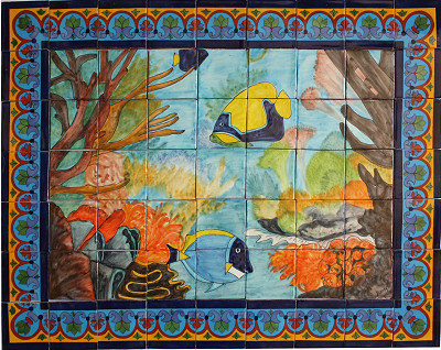 Coral reef clay talavera tile mural tile murals by for Coral reef mural