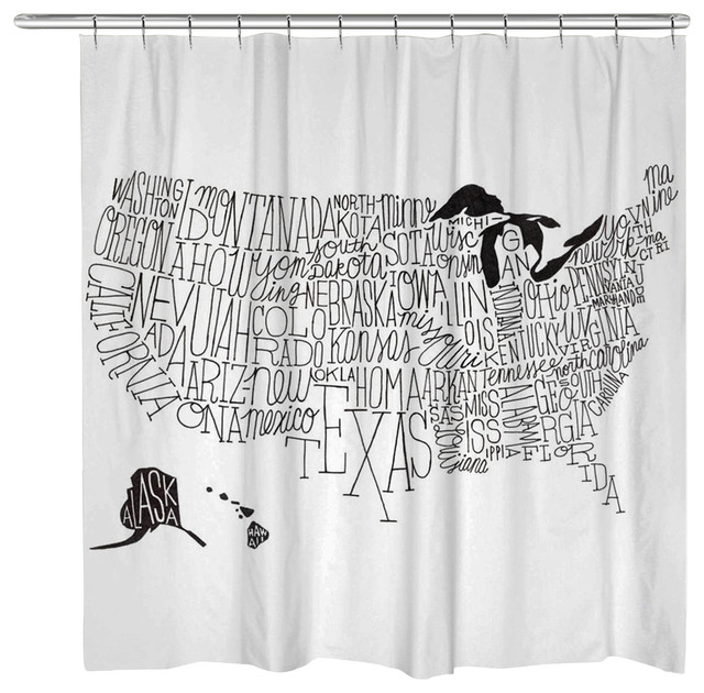 Hand Lettered Black And White Us Map Shower Curtain Contemporary