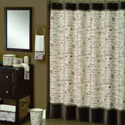 Edwardian Script 70 Inch X 72 Shower Curtain In Natural