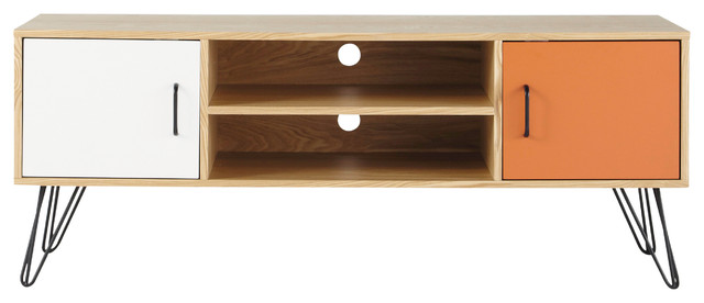 meuble tv vintage en bois blanc et orange l 130 cm. Black Bedroom Furniture Sets. Home Design Ideas