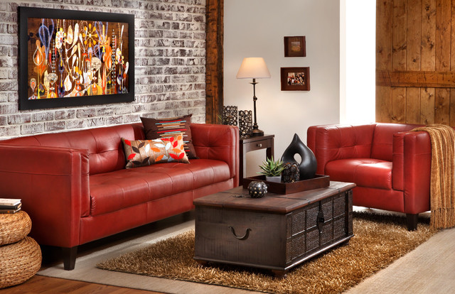 Gravina Red Sofa Group Living Room