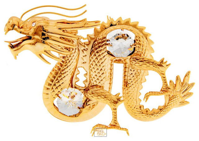 Kgnc Dragon Animal Figurine 24k Gold Plated With
