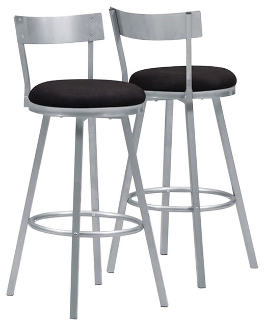 Monarch Swivel Metal Bar Stool Black And Silver Set Of 2