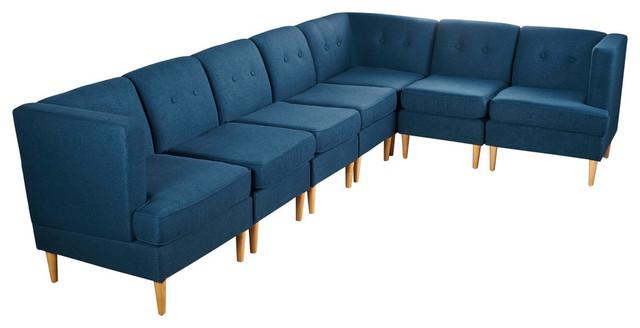 Awesome Gdf Studio 7 Piece Milltown Fabric Sectional Sofa Set Navy Blue Inzonedesignstudio Interior Chair Design Inzonedesignstudiocom