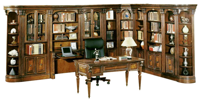 Huntington Large Library Desk Wall, 11-Piece Set.