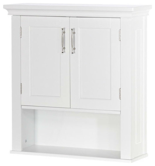 White Wood Bathroom Wall Mounted Storage Cabinet With