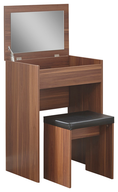 Compact Dressing Table Set, Walnut Contemporary Dressing Tables