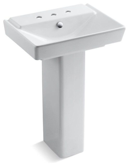 Reve 23 Pedestal Bathroom Sink With 8 Widespread Faucet Holes, White.