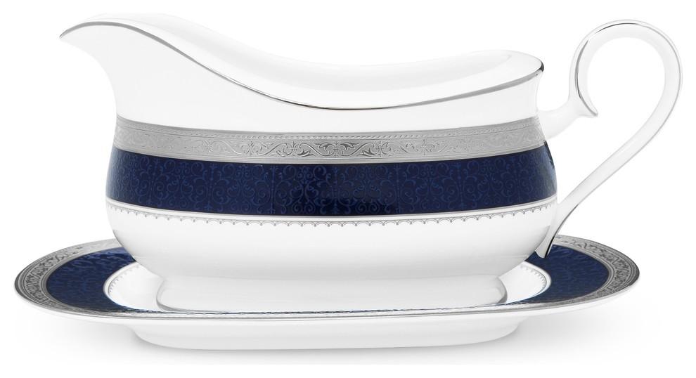 Noritake Odessa Cobalt Platinum Gravy Boat /& Stand