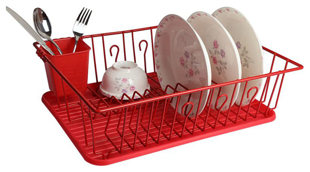 Megachef 17.5\  Red Dish Rack With 14 Plate Positioners Utensil Holder  sc 1 st  Houzz & Megachef 17.5\
